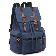 Men Tourist Camping Canvas Real leather Trims School Bag Backpack Navy