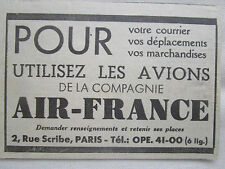 1937-1938 PUB COMPAGNIE AERIENNE AIR FRANCE AIRLINE AVION AVIATION AD