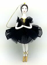 Ballerina black dress Russian Handmade CHRISTMAS ORNAMENT doll Swan Lake ballet
