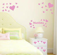 Hearts Personalised Wall Sticker Girl's Bedroom Name Decal Transfer Decoration