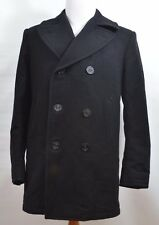 DSCP Quarterdeck Collection Pea Coat Black 100% Wool Men's 40 L Made in USA