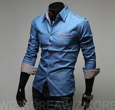 Mens Luxury Long Sleeve Casual Shirts Slim Fit Dress Tee Shirt Tops Light Blue_M