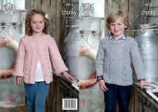 "King Cole Chunky Knitting Pattern 4512:Jacket & Sweater 22""-30"""