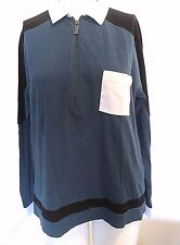 SPORT  THE KOOPLES  TEAL COLOR BLOCK COLLARED HALF ZIP POLO SHIRT SZ 2