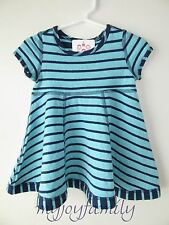HANNA ANDERSSON One Two Reversible Dress Beachball Navy Stripe 70 9-18 month NWT