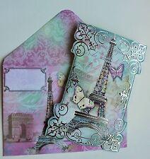 *POOCH & SWEETHEART Set of 4 Silver Foil Note Cards~Butterflies ~ Eiffel ~ Paris
