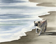 PUG At The BEACH Watercolor Dog 8 x 10 ART Print Signed by Artist DJR