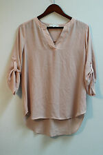 Chaus NY Size M Pink Semi-Sheer Roll Cuff Tunic Style Blouse/Career/Casual/Date