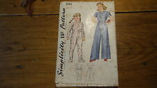 Vintage 1940 Simplicity Pattern CHILD'S SLEEPING SUIT, PAJAMAS #3493 Size 6