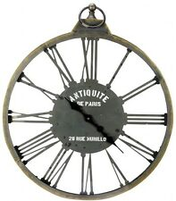 X Large Skeleton Distressed Metal Roman Numeral Wall Clock NEW French Vintage