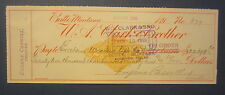 Old 1899 - BUTTE Montana - Bank Check - Revenue Stamp - W.A. Clark & Brother
