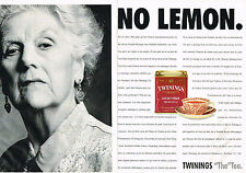 "PUBLICITE ADVERTISING   1993   TWININGS thé "" NO LEMON"" ( 2 pages)"