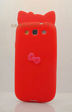 FOR SAMSUNG GALAXY S3 cute hello kitty SOFT CASE RED W/ HOT PINK 3D BOW / i9300