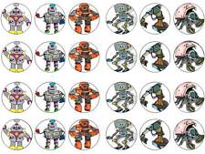 24 cartoon robot BABY KIDS BAMBINO CHIGNON Fairy decorazioni per cupcake partito commestibili carta