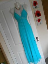 **STUNNING** JANE NORMAN SIZE 12 TURQUOISE GRECIAN MAXI DRESS *FAST POSTAGE*