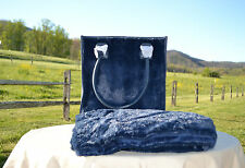 """Dennis Basso Faux Fur Overnight Bag with 32""""x60"""" Lap Throw - Royal Blue"""