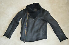 All Saints Jut Black Leather Sheepskin Shearling Biker Jacket Coat Mens Small S