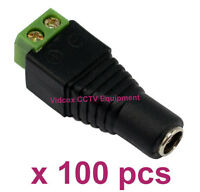 100X 5.5mm x 2.1mm 12V DC Female CCTV Camera Power Cable Connector Adapter Jack