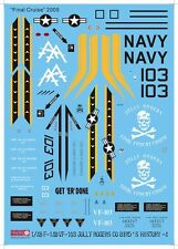 Jasmine Model 148008 1/48 F-14B VF-103 JOLLY ROGERS  Final Cruise 2005 Decal Set