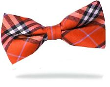 PRICED TO CLEAR!! Mens Pre-Tied Adjustable Plaid Check Polyester Bow Tie Red