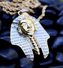 "Gold King Tut Pharaoh Egyptian Pendant Charm 24"" Rope Chain Necklace"