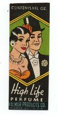 1930s Label from a Bottle of High Life Perfume w/ Art Deco Couple