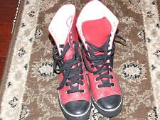 Colin Stuart Leather Red High Tops Hi sneakers Women Size 7 similar to Converse