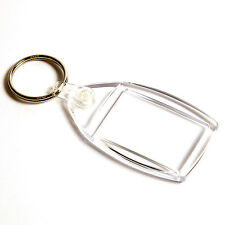 100 BLANK CLEAR KEYRINGS 35mm x 24mm P502 P5 Y1 35 24
