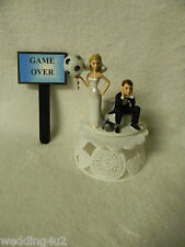 WEDDING HUMOROUS SOCCER Game Over Sign  SPORTS BALL CHAIN CAKE TOPPER