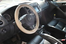 BEIGE PVC Leather Steering Wheel Stitch Wrap Cover Needle Thread DIY Chevy Truck