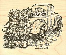 Spring Floral Truck, Wood Mounted Rubber Stamp NORTHWOODS - NEW, P9762