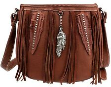 Montana West Fringe & Feather Collection Messenger Bag-BR