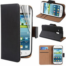 SAMSUNG Galaxy S3 Mini Nero Vera Pelle Flip Folio Wallet Stand Case Cover
