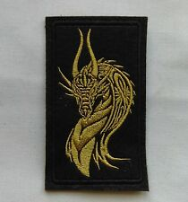 110 x 62mm Embroidered Gold Celtic Style Dragon Iron/Sew on Patch