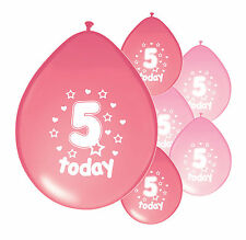 "8 X 5th BIRTHDAY GIRL BALLOONS ""5 TODAY""  BIRTHDAY BALLOONS MIX PINK (PA)"