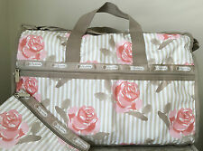 NWT LeSportsac LARGE WEEKENDER BAG tote duffel pink rosy dreams beige red $118