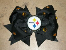 "NEW ""PITTSBURGH STEELERS"" Pro Football Girls Ribbon Hair Bow Rhinestone Clip NFL"
