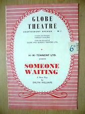 Globe Theatre Programme-H M Tennent's SOMEONE WAITING by Emlyn Williams~N Wilman