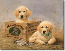 Wingmaster Shot Shells Labrador Pups Metal Sign Tin New Vintage Style USA #1201