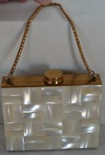 Vintage MOP Mother of Pearl Compact Lipstick Pill Box Purse