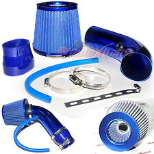 "2.5""-3.0"" UNIVERSAL COLD AIR Intake INDUCTION HOSE KIT System & JDM Filter BLUE"