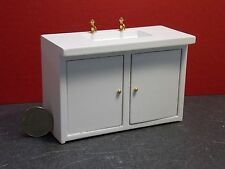 Dollhouse Miniature White Modern Sink with cabinets  1:12  one inch scale E54