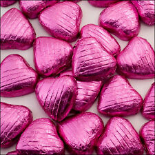 100 Pink Foil Wrapped Milk Chocolate Hearts Quality Wedding Favours