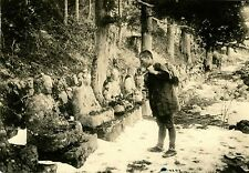 JAPAN WINTER SCENE PILGRIM BUDDHA STATUES ALONG THE ROAD ORIGINAL ANTIQUE PHOTO