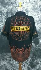 Mens Harley Davidson flame live to ride polyester shirt Medium
