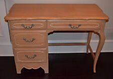 """Ethan Allen Country French 42"""" Desk Birch 4 Drawer #26-5417 #270 Bisque"""