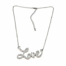 Women Girls Silver Color LOVE letter Short Necklace Valentine's Day Gift her