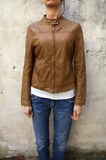 Oviesse Made in Italy Zip Jacket Women Light Brown italy S Distressed Look