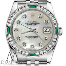 Women's Rolex 31mm Datejust White MOP Mother Of Pearl Diamond Dial Emerald Watch