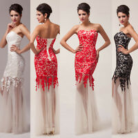 New Lace Prom Ball Cocktail party wedding dress Bridal Formal Slim Evening gown
